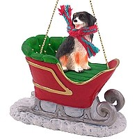 Bernese Mountain Dog Sleigh Ride Ornament