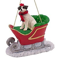 Jack Russell Terrier Brown & White w/Rough Coat Sleigh Ride Ornament