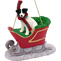 Jack Russell Terrier Black & White w/Rough Coat Sleigh Ride Ornament