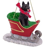 Schipperke Sleigh Ride Ornament