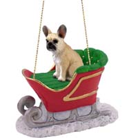 French Bulldog Fawn Sleigh Ride Ornament