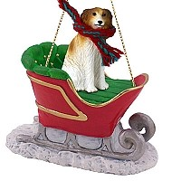 Borzoi Sleigh Ride Ornament