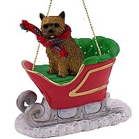 Norwich Terrier Sleigh Ride Ornament