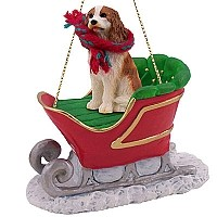 Cavalier King Charles Spaniel Brown & White Sleigh Ride Ornament
