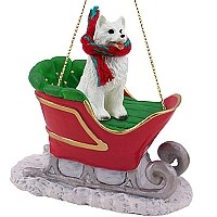 American Eskimo Sleigh Ride Ornament