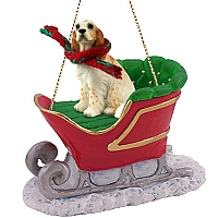 English Setter Belton Orange Sleigh Ride Ornament