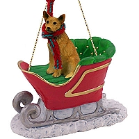 Australian Cattle Red Dog Sleigh Ride Ornament