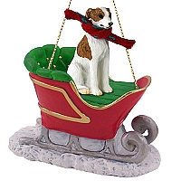 Whippet Brindle & White Sleigh Ride Ornament