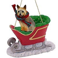 Silky Terrier Sleigh Ride Ornament
