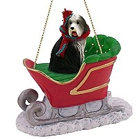 Bearded Collie Sleigh Ride Ornament