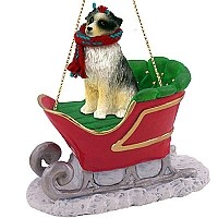 Australian Shepherd Blue Sleigh Ride Ornament