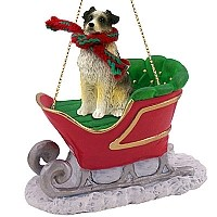 Australian Shepherd Blue w/Docked Tail Sleigh Ride Ornament