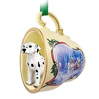 Dalmatian Tea Cup Sleigh Ride Holiday Ornament