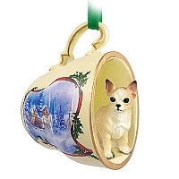 Chihuahua Tan & White Tea Cup Sleigh Ride Holiday Ornament