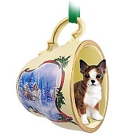 Chihuahua Brindle & White Tea Cup Sleigh Ride Holiday Ornament
