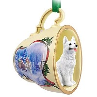 German Shepherd White Tea Cup Sleigh Ride Holiday Ornament