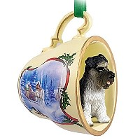 Schnauzer Gray w/Uncropped Ears Tea Cup Sleigh Ride Holiday Ornament