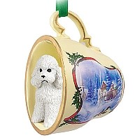 Poodle White w/Sport Cut Tea Cup Sleigh Ride Holiday Ornament