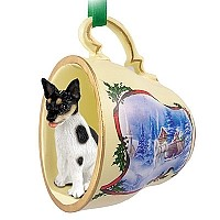 Rat Terrier Tea Cup Sleigh Ride Holiday Ornament