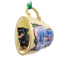 Rottweiler Tea Cup Sleigh Ride Holiday Ornament