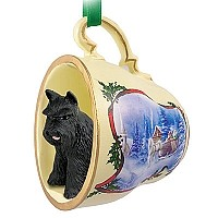 Schnauzer Black Tea Cup Sleigh Ride Holiday Ornament