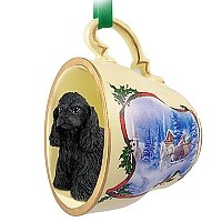 Cocker Spaniel Black Tea Cup Sleigh Ride Holiday Ornament