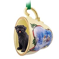 Pug Black Tea Cup Sleigh Ride Holiday Ornament