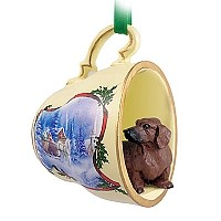Dachshund Red Tea Cup Sleigh Ride Holiday Ornament
