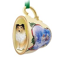 Sheltie Sable Tea Cup Sleigh Ride Holiday Ornament