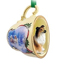 Collie Sable Tea Cup Sleigh Ride Holiday Ornament