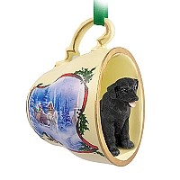 Labrador Retriever Black Tea Cup Sleigh Ride Holiday Ornament