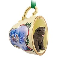 Labrador Retriever Chocolate Tea Cup Sleigh Ride Holiday Ornament