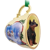 Doberman Pinscher Red w/Cropped Tea Cup Sleigh Ride Holiday Ornament