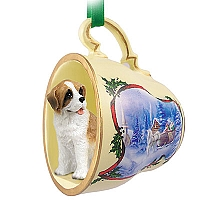 Saint Bernard w/Rough Coat Tea Cup Sleigh Ride Holiday Ornament