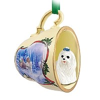 Maltese Tea Cup Sleigh Ride Holiday Ornament