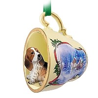 Basset Hound Tea Cup Sleigh Ride Holiday Ornament
