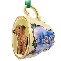 Airedale Tea Cup Sleigh Ride Holiday Ornament