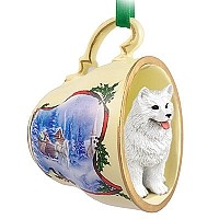 Samoyed Tea Cup Sleigh Ride Holiday Ornament