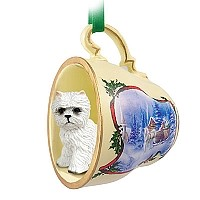 West Highland Terrier Tea Cup Sleigh Ride Holiday Ornament