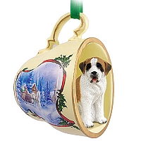 Saint Bernard w/Smooth Coat Tea Cup Sleigh Ride Holiday Ornament