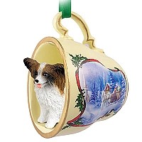 Papillon Brown & White Tea Cup Sleigh Ride Holiday Ornament