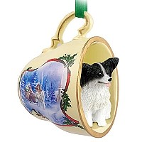 Papillon Black & White Tea Cup Sleigh Ride Holiday Ornament
