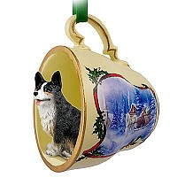 Welsh Corgi Cardigan Tea Cup Sleigh Ride Holiday Ornament