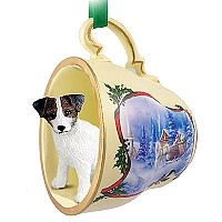 Jack Russell Terrier Brown & White w/Rough Coat Tea Cup Sleigh Ride Holiday Ornament