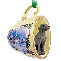 Weimaraner Tea Cup Sleigh Ride Holiday Ornament