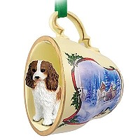 Cavalier King Charles Spaniel Brown & White Tea Cup Sleigh Ride Holiday Ornament