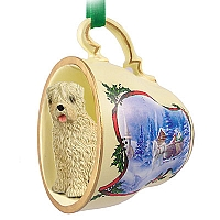 Soft Coated Wheaten Terrier Tea Cup Sleigh Ride Holiday Ornament