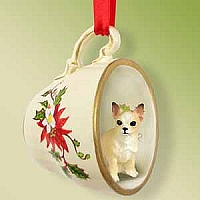 Chihuahua Tan & White Tea Cup Red Holiday Ornament