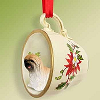 Lhasa Apso Brown Red Holiday Tea Cup Ornament