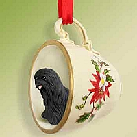 Lhasa Apso Black Red Holiday Tea Cup Ornament